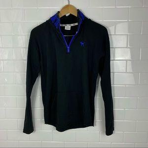 PINK Black/Blue Quarter Zip Sweatshirt